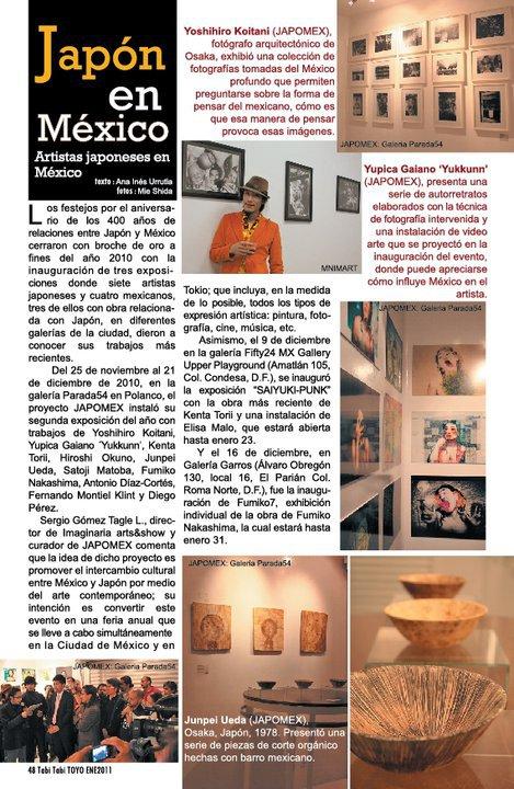 Nota de la exposición Proyecto Japomex Interior de la Revista Tabi Tabi Toyo, pag. 48 No. 66, Enero de 2011
